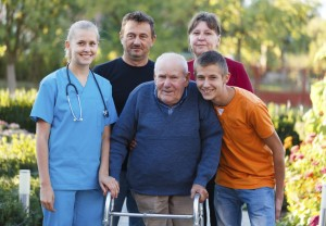family with caregiver