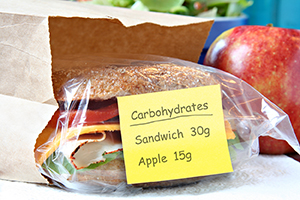 Healthy turkey sandwich and apple with post-it note with grams of carbohydrates.