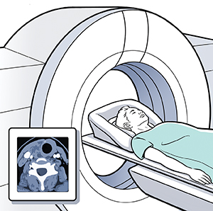 Woman lying on CT scan table. Inset shows CT scan.